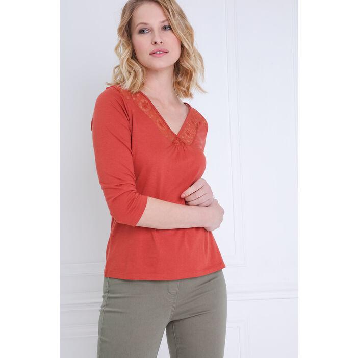T-shirt manches 3/4 à broderie orange foncé femme