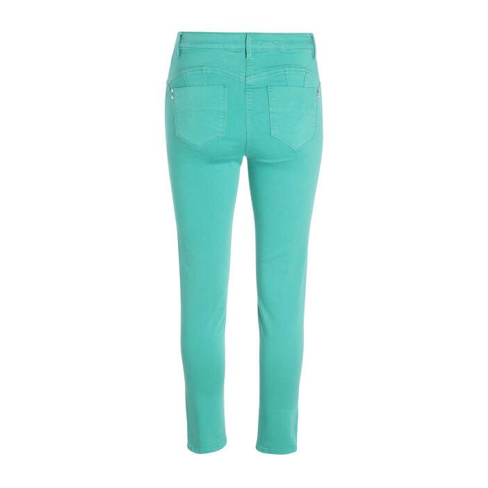 Pantalon ajusté taille haute vert femme