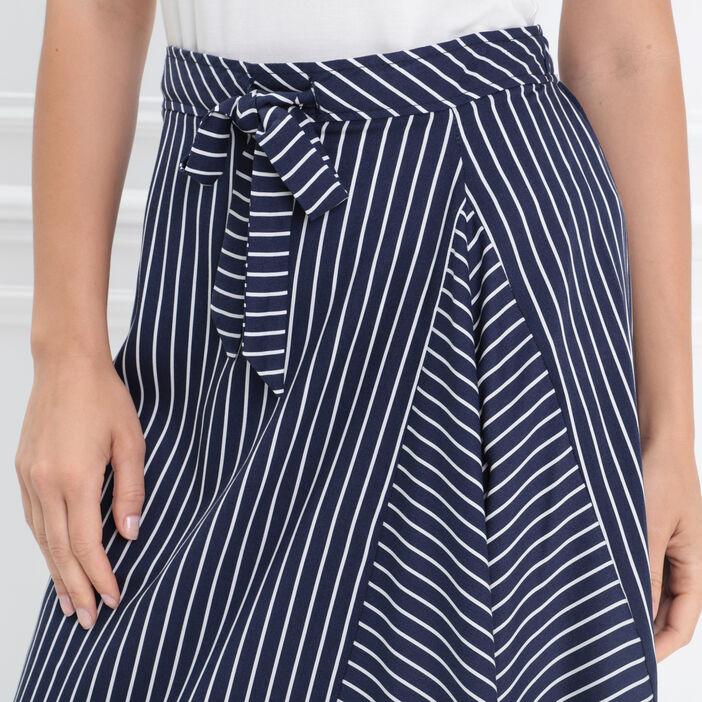 Jupe longue asymétrique nœud bleu marine femme