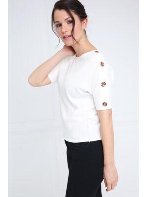 T shirt manches courtes details boutons ecru femme