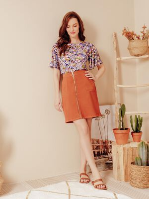 Jupe courte zippee orange fonce femme