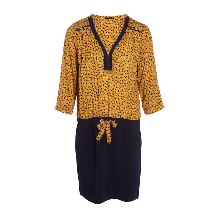 Robe courte droite bimatière noir femme
