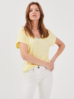T shirt manches courtes jaune fluo femme