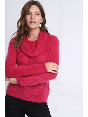 Pull manches longues col roule rose femme