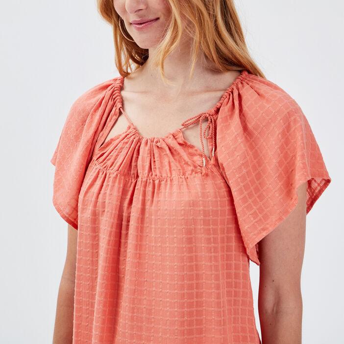 Blouse manches courtes orange foncé femme