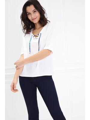 T shirt avec lacage imprime ecru femme