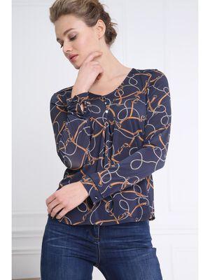T shirt col V imprime bleu marine femme
