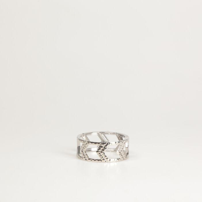 Bracelet manchette chevron couleur argent femme
