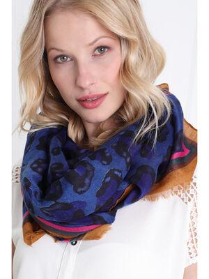Foulard imprime leopard bleu femme