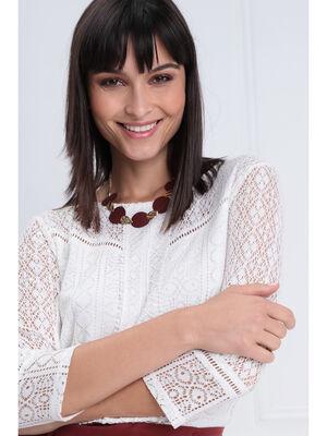 Collier ras de cou piecettes rouge fonce femme