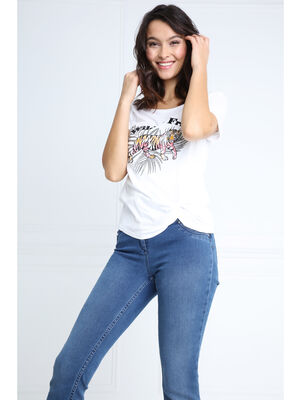 T shirt manches courtes motif avant blanc femme