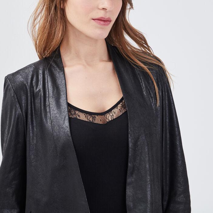 Veste droite col châle noir femme