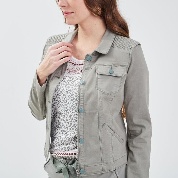 Veste droite boutonnée en jean vert clair femme