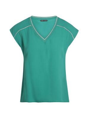 T shirt manches courtes details col vert femme
