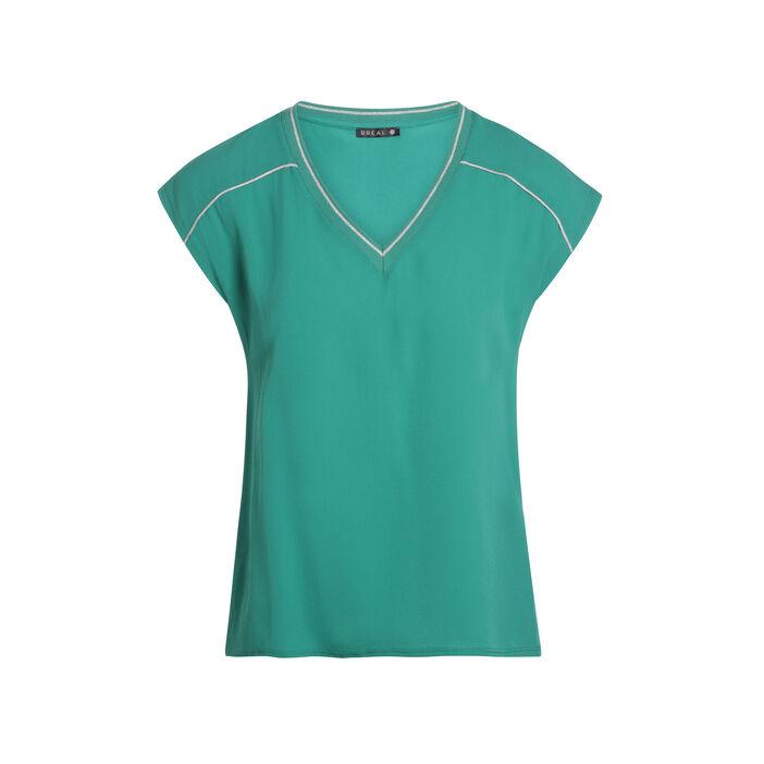 T-shirt manches courtes détails col vert femme