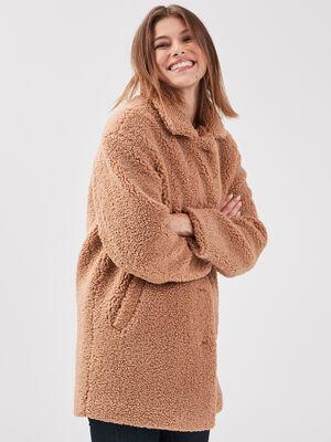 Manteau droit effet pelucheux camel femme