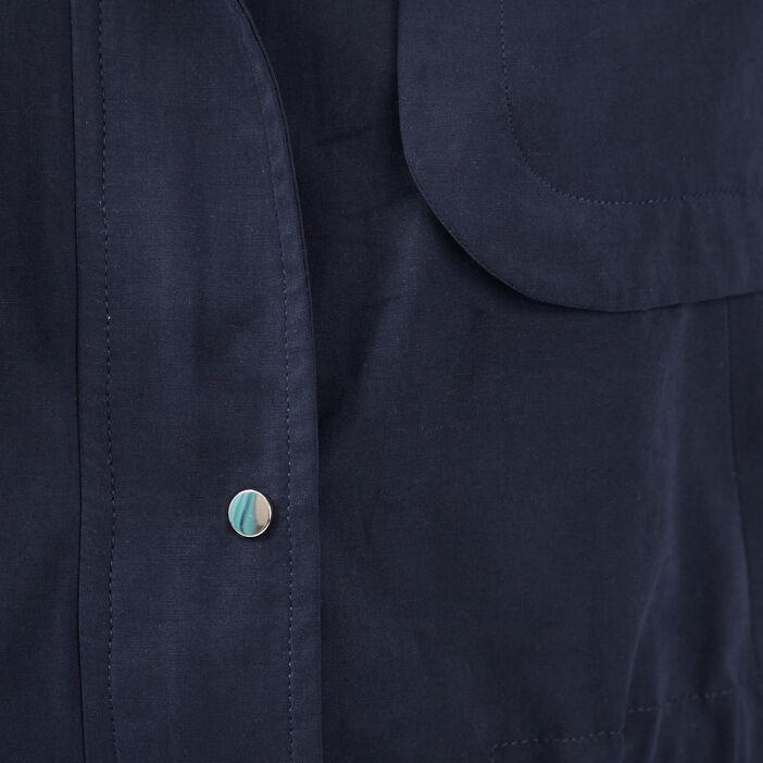 Parka droite taille à coulisse bleu marine femme