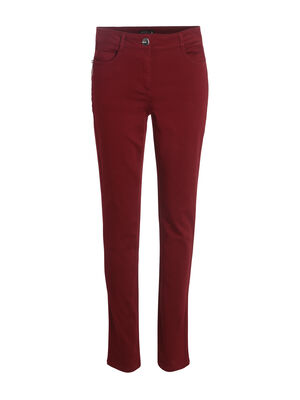 Pantalon taille standard zip poches rouge fonce femme