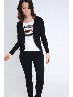 Cardigan manches longues noir femme
