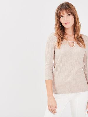T shirt manches 34 cotele marron clair femme