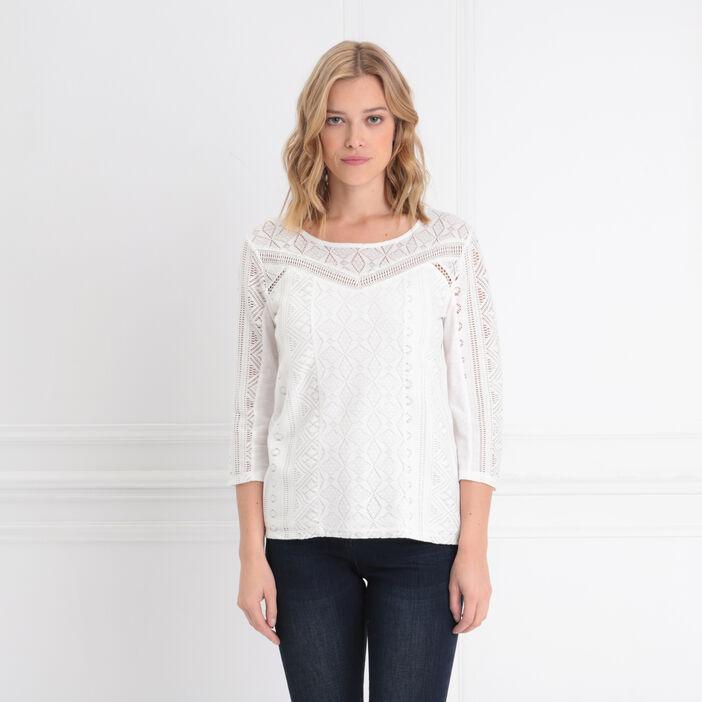 T-shirt manches 3/4 dentelle ecru femme