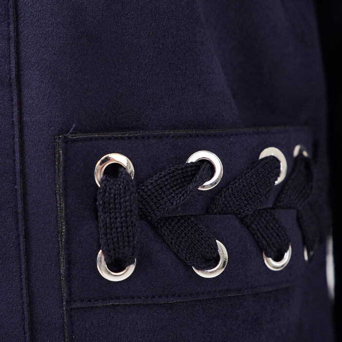 Gilet manches longues œillets bleu marine femme