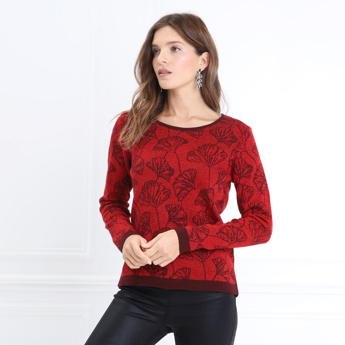 Pull manches longues rouge femme
