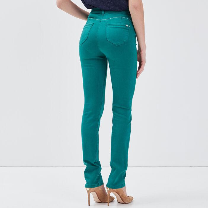 Pantalon ajusté taille haute vert émeraude femme