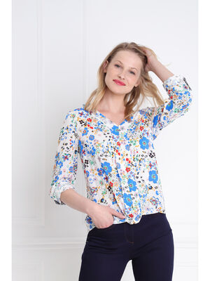 Blouse manches 34 nouee blanc femme