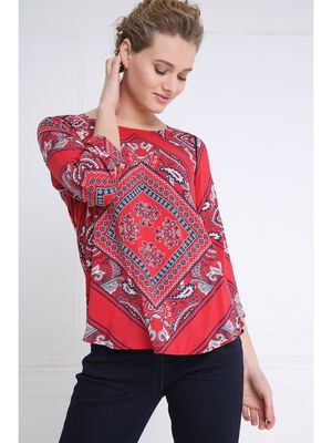 Blouse manches 34 col rond rouge femme