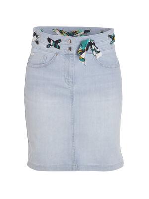 Jupe jean avec inser foulard denim bleach femme