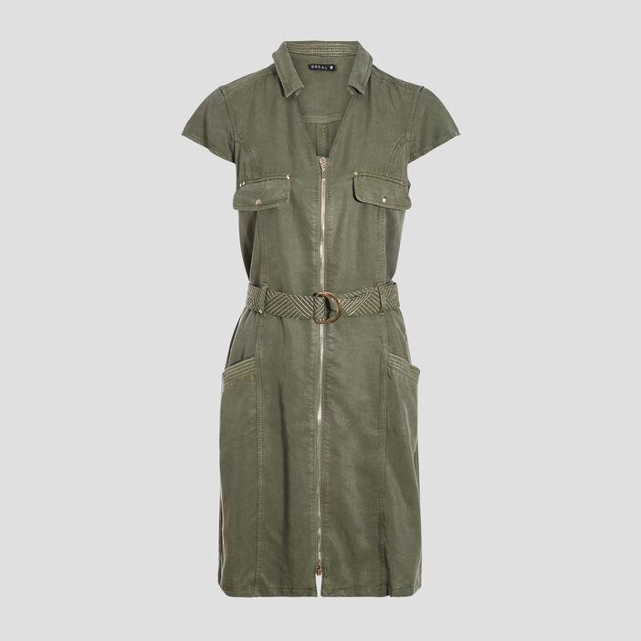 Robe droite zippée ceinturée vert kaki femme