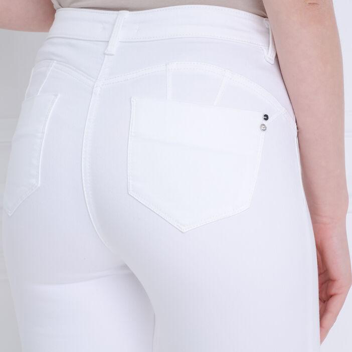 Pantalon ajusté taille haute blanc femme