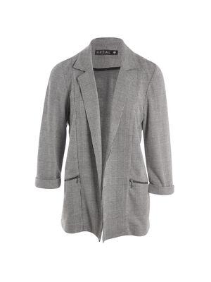 Veste mi longue poches zippees gris fonce femme