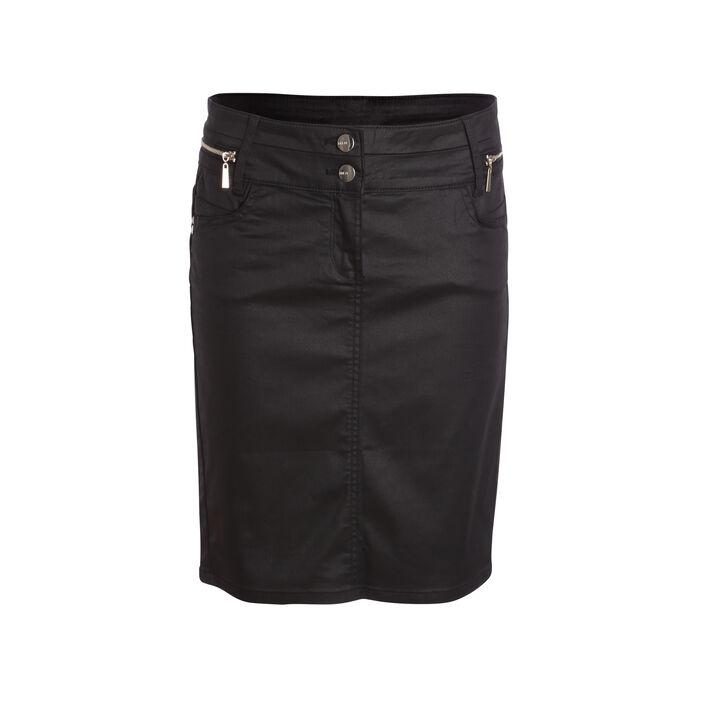 Jupe enduite détails zip noir femme