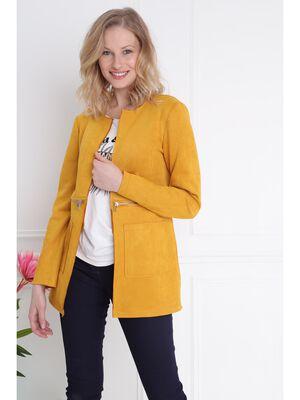 Veste droite longue col rond jaune or femme