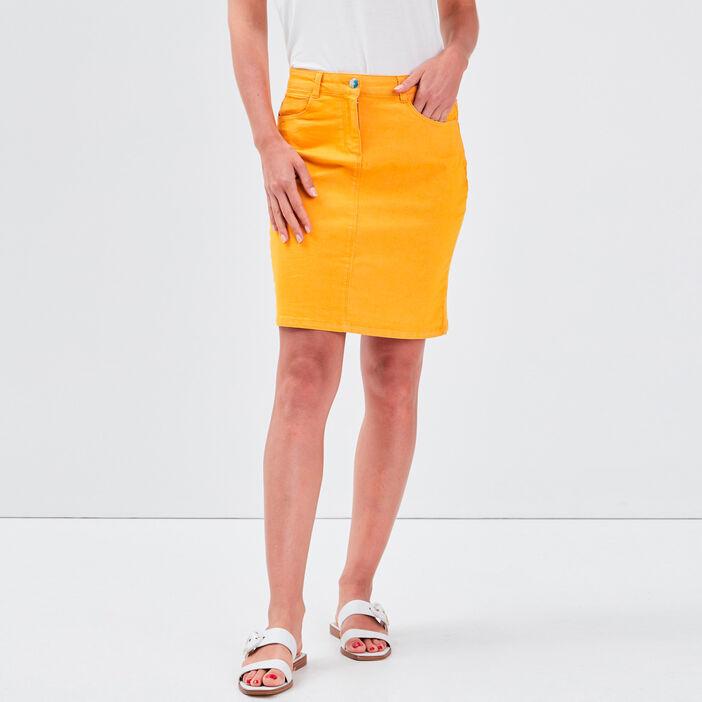 Jupe droite jaune or femme