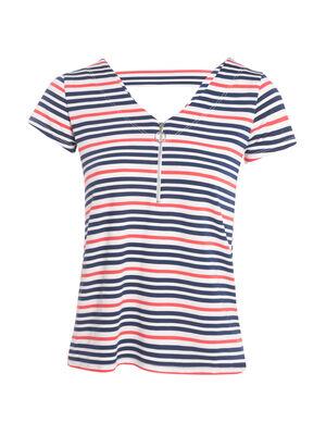 T shirt avec zip bleu fonce femme