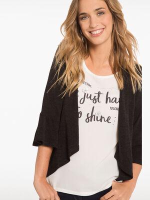 T shirt forme gilet en maille noir femme