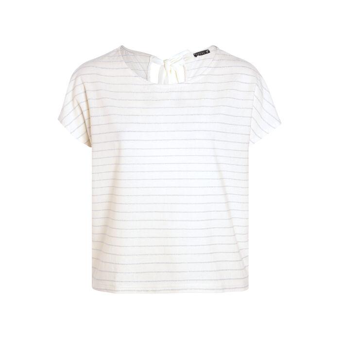 T-shirt manches courtes nœud creme femme