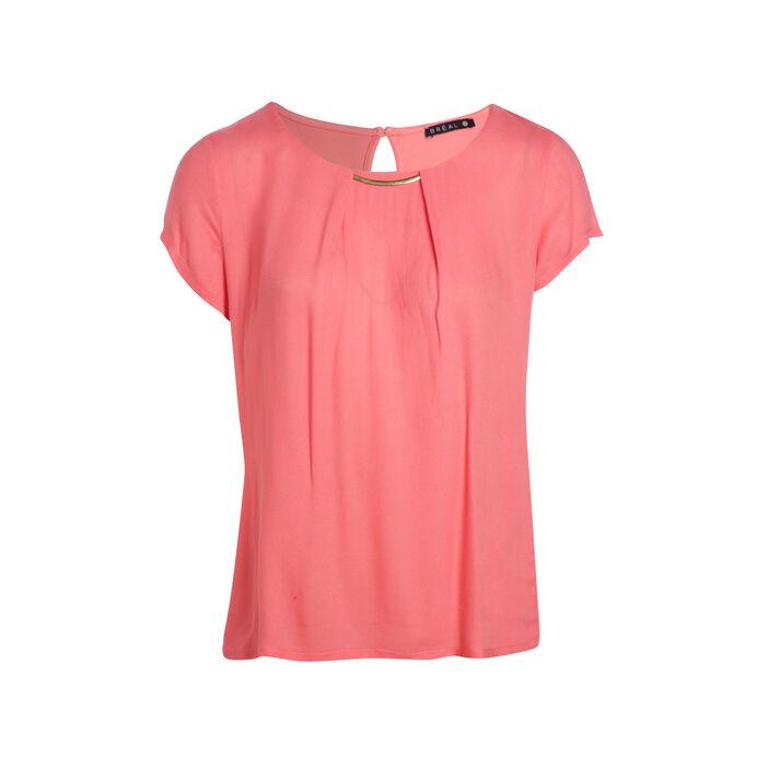 T-shirt manches courtes col bijoux orange corail femme