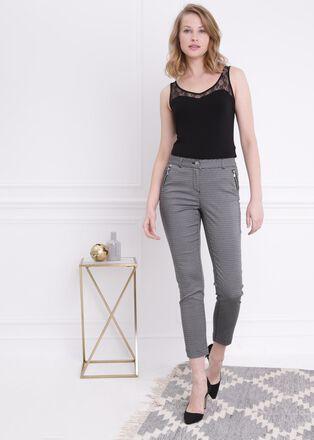 Pantalon imprime noir femme