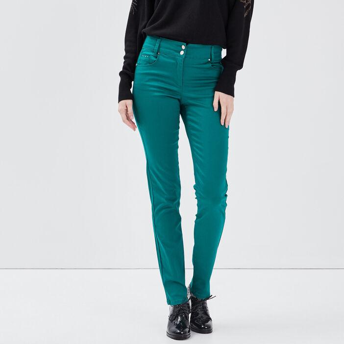 Pantalon ajusté vert émeraude femme