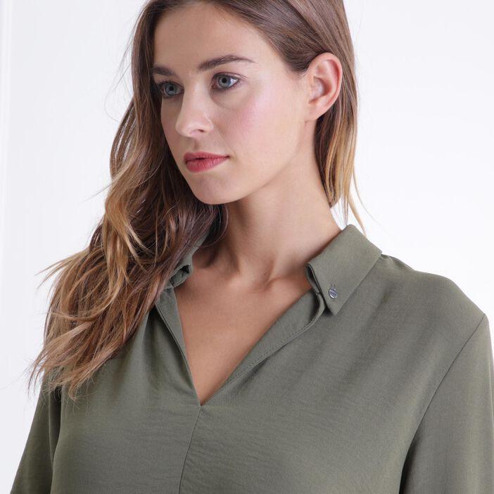 Chemise manches 3/4 vert foncé femme