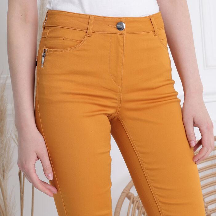 Pantalon ajusté zip poches jaune moutarde femme