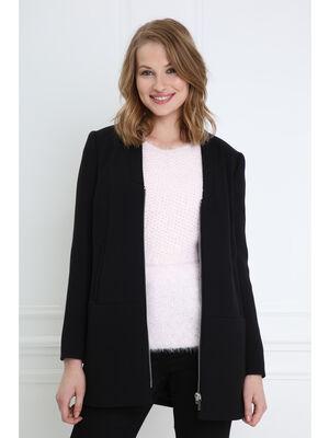 Manteau court zippe noir femme