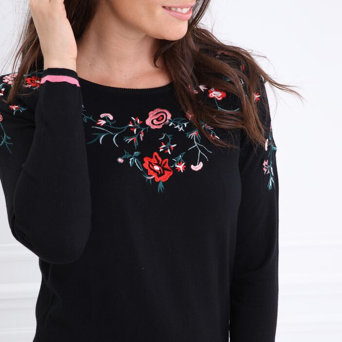 Pull col rond broderies noir femme