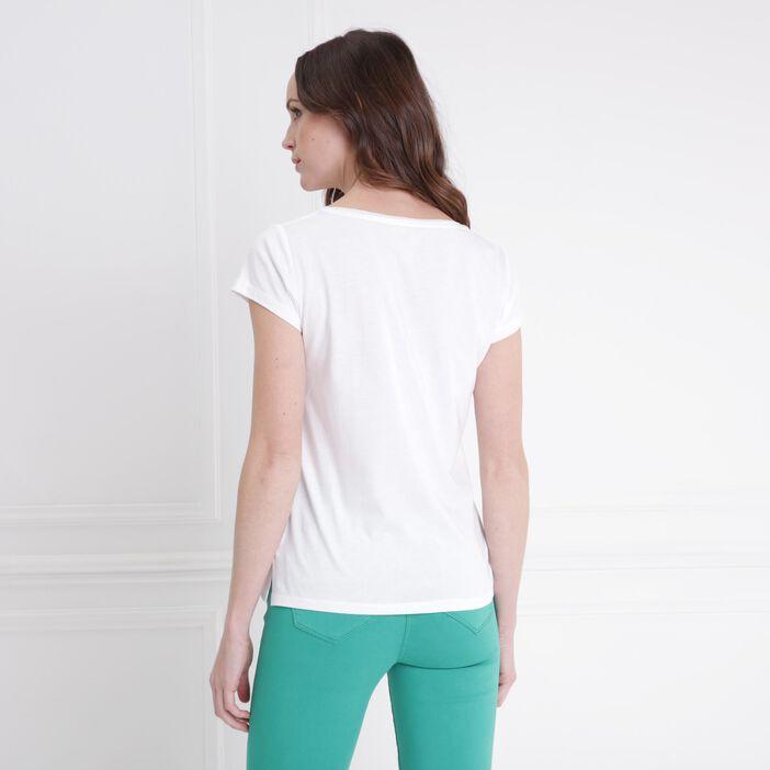 T-shirt col V motif devant blanc femme