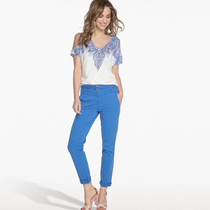 ce1cc24dbbe36 Pantalon taille haute avec ceinture bleu clair femme | Bréal
