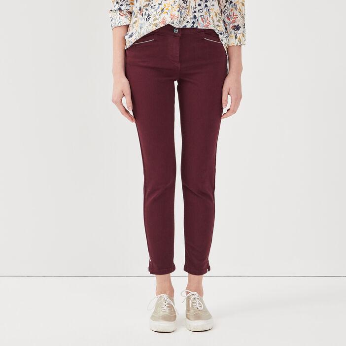 Pantalon ajusté taille haute violet foncé femme